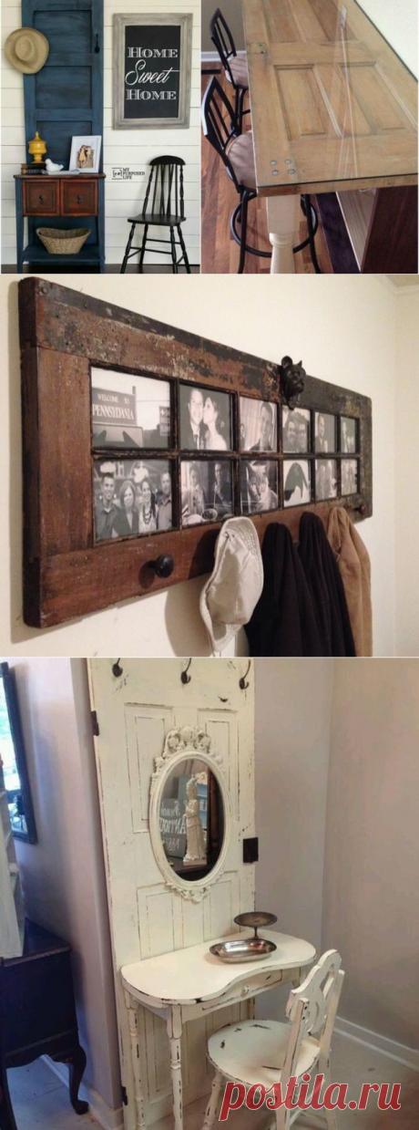 Оригинальные идеи из старых дверей