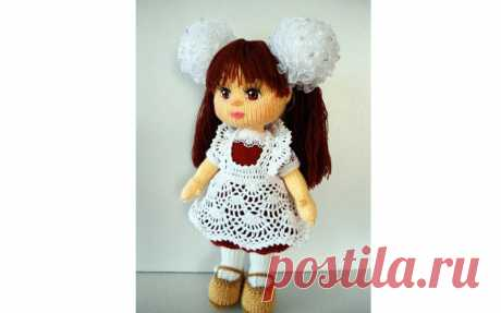 Вязаный фартук для куклы Вязаный крючком фартук для куклы. Схема