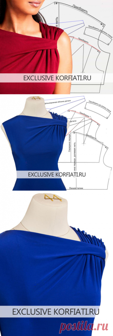 Modeling of a bodice with a drapery on a shoulder from Anastasia Korfiati