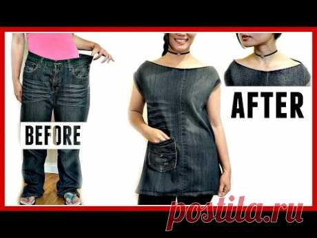 DIY:Jeans Transformation to a Side-Slit TOP with POCKET