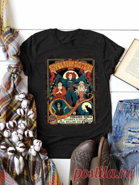 Women Halloween Figure Graphic Print Casual Short Sleeve T-Shirts - US$8.99