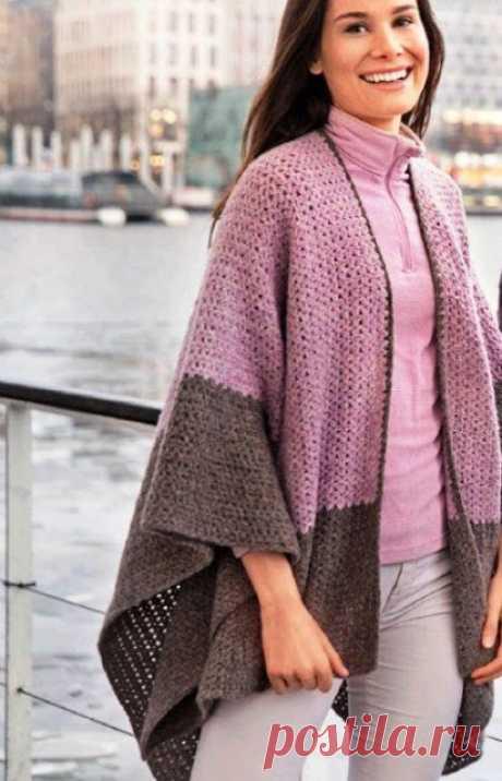 Вязание - модели и схемы: Накидка-пончо крючком со схемой