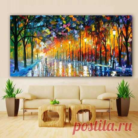 (1) Walling In Rain Light Road Oil Painting Wall Art