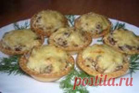 Корзиночки с грибами и сыром (из слоёного или песочного теста)