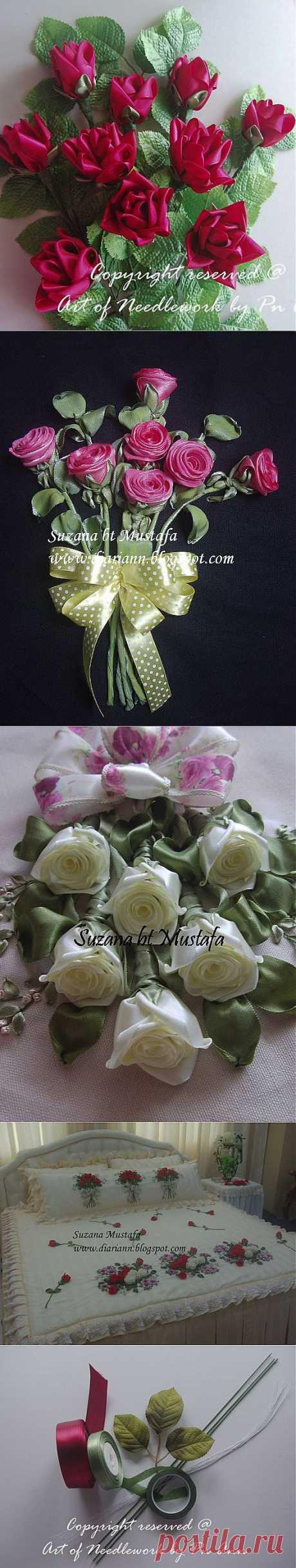 Объемная вышивка лентами. РОЗЫ от Suzana Mustafa.