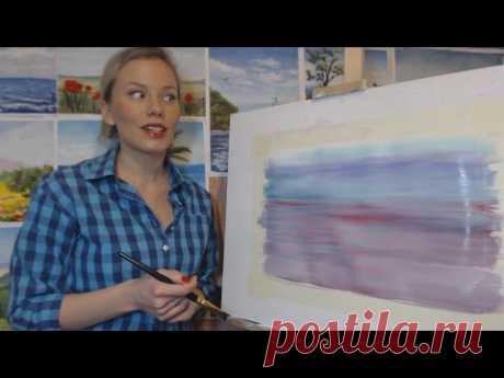 Онлайн-урок рисования гуашью для начинающих. Подготовка фона для картины
