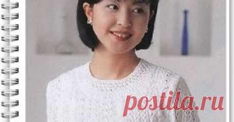 Летний пуловер с коротким рукавом Как связать спицами женский пуловер с коротким рукавом