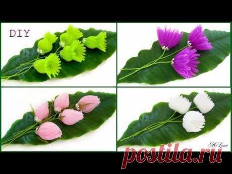 FLOWERS FROM ORGANZA, MK \/ DIY MAGIC ORGANZA FLOWERS