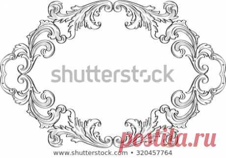 Стоковая векторная графика «Swirl Vintage Good Greeting Frame On» (без лицензионных платежей), 320457764: Shutterstock