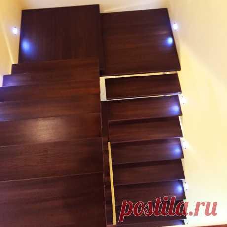 Металлическая лестница облицованная деревом