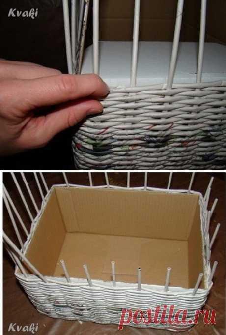 Плетение из газет. Как крутить трубочки и оплетать коробку.
