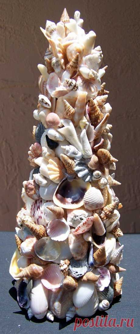 Sea Shell Art Tree Home Decoration - 8 1/2 to 9 inches tall