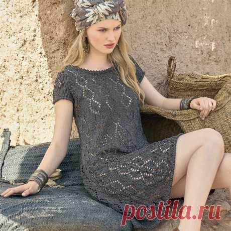 Легкое платье с ажурным узором #вязаниедляженщин #вязание