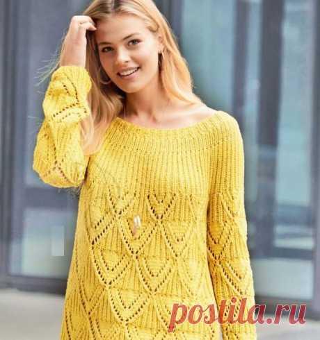 Ажурные ромбы спицами. Пуловер | АЖУР - схемы узоров