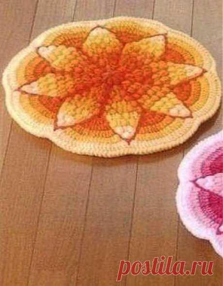 Радужный коврик крючком