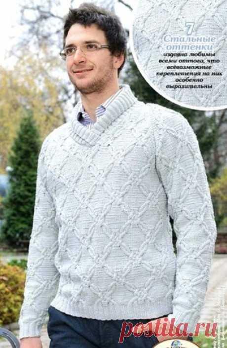 Мужской свитер с интересным узором.