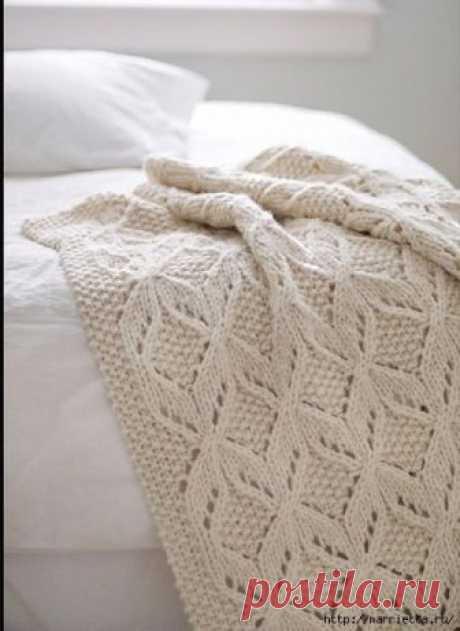 Схема узора спицами для создания красивого и теплого пледа Красивый пледик, делюсь находкой!