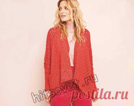 Модный красный кардиган с карманами - Хитсовет Вязание спицами для женщин модного красного кардигана с карманами со схемой и пошаговым бесплатным описанием.