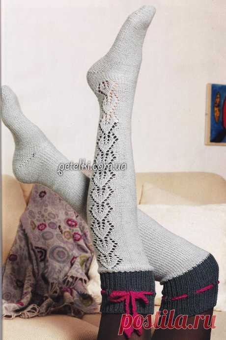 Knitted chulochka spokes with an openwork insert. Description, schemes