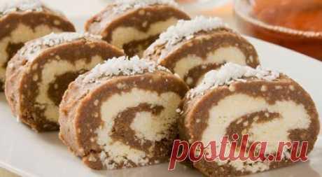 Рулет шоколадно-кокосовый  Ингредиенты: Для... / Еда и напитки / Рецепты / Pinme.ru