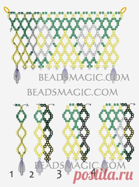 Free pattern for necklace Hibiscus   Beads Magic