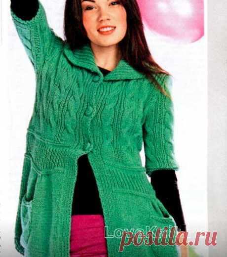 Зеленый жакет с карманами схема спицами » Люблю Вязать