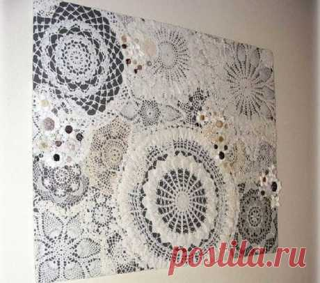 Картины из необычных материалов: ниток, пуговиц, бисера, ткани, шерсти (85 фото)