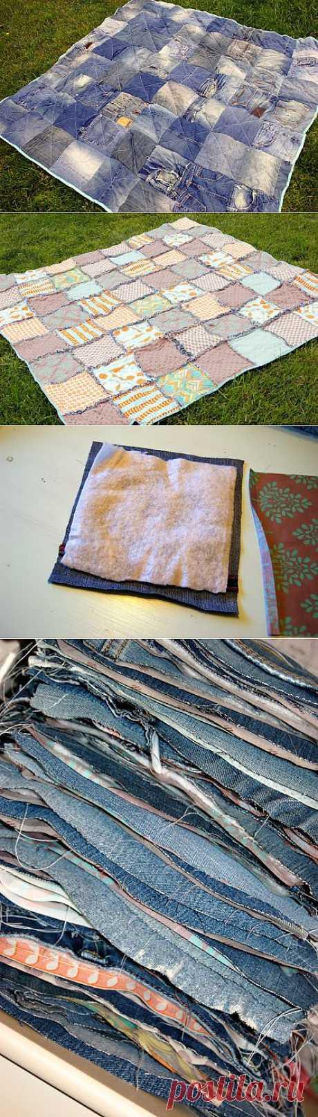Джинсово- лоскутное одеяло для пикника. МК..