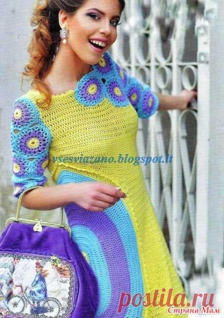 . Летнее платье крючком с овальной деталью и цветочными мотивами. - Все в ажуре... (вязание крючком) - Страна Мам