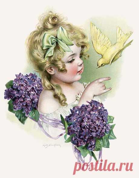 Дети на винтажных картинках и открытках. Художница Maud Humphrey. Часть 2.