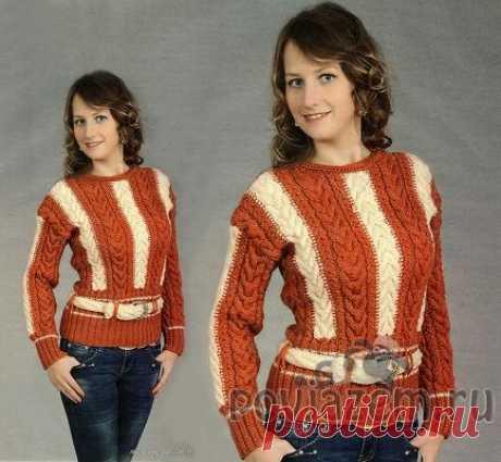 Пуловер спицами с разноцветными косами