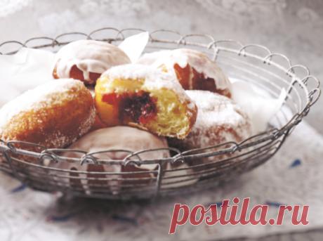 Пончики берлинер с клубничным джемом | Просто. Вкусно