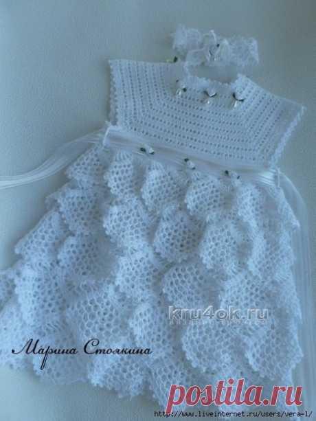 Нарядное платьице для малышки Автор: Марина Стоякина  #платье #вяжем_девочкам #реглан