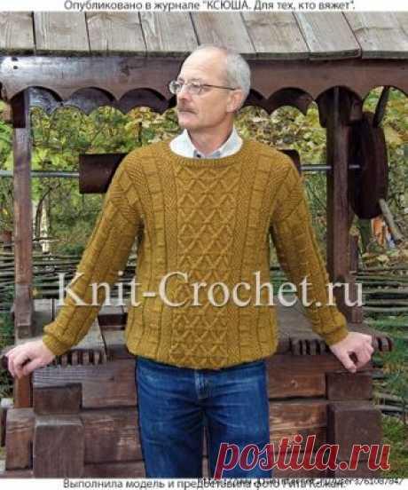 Пуловер мужской спицами