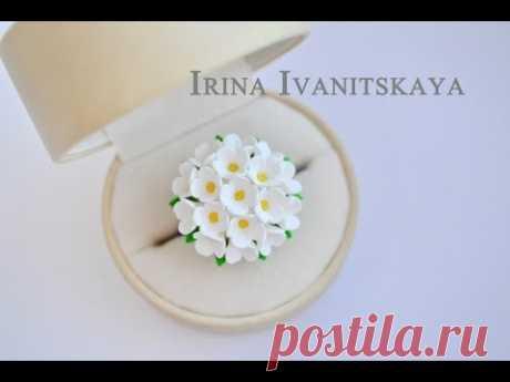 """Кольцо """"Белая сирень"""" из FIMO - цветочная миниатюра"""
