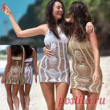 Вязаное пляжное мини платье, летнее бикини, сексуальное женское платье бохо, коктейли-in Комплекты бикини from Спорт и развлечения
