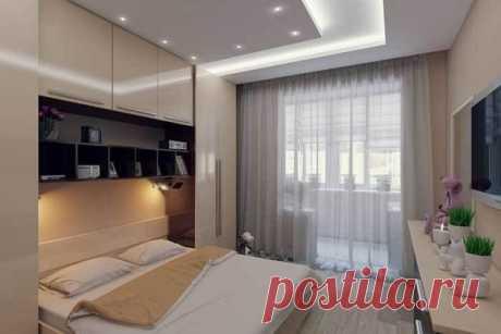 Спальня с ТВ-зоной и присоединенным балконом