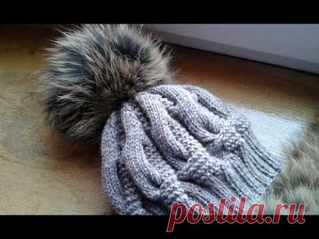 Шапка спицами из объемных кос. Часть 2 // Women's hats knitting
