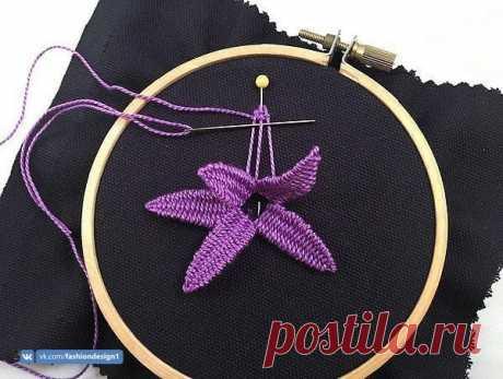 Вышивка объемного цветка — Сделай сам, идеи для творчества - DIY Ideas