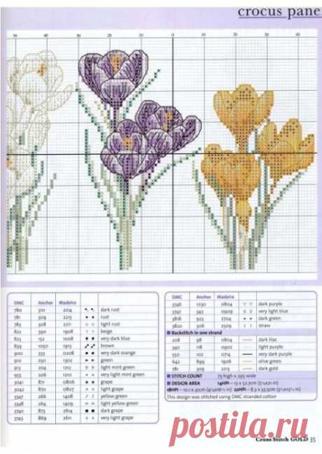 Яркие весенние крокусы:простые схемы для вышивки