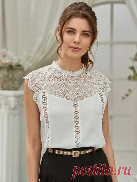 Полая блуза крючком с застежкой сзади | SHEIN
