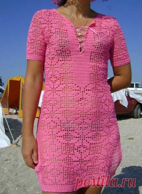 Женская туника филейным узором. Туника для пляжа вязаная филейным узором | Домоводство для всей семьи.
