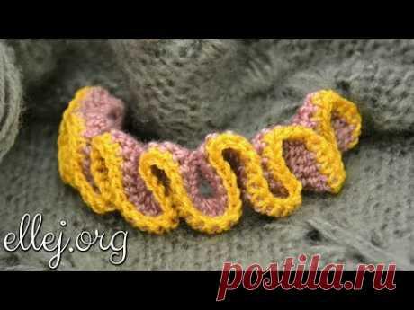 Как связать Рюши крючком. Crochet ruffle edge. - YouTube