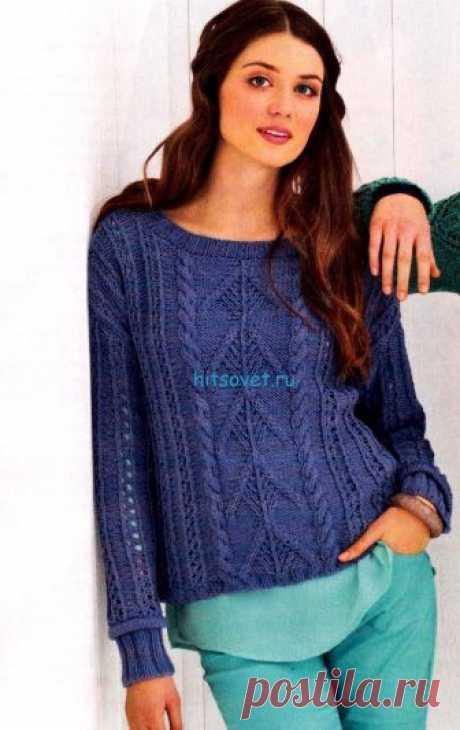 Пуловер в стиле деним