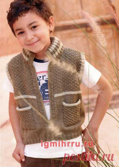 Для мальчика 3-9 лет. Жилет с карманами и на «молнии». Вязание спицами для мальчиков со схемами и описанием