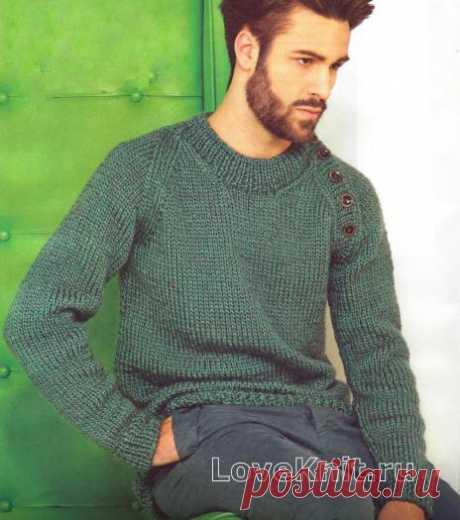 Мужской пуловер с рукавом реглан с пуговицами схема Для мужчин » Люблю Вязать