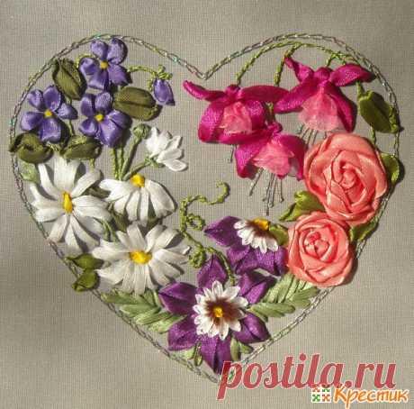 Клематис, роза, ромашка, фиалка и фуксия: мастер-класс по их вышивке лентами   Крестик