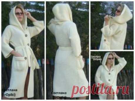 Потрясающе красивое, стильное пальто спицами платочной вязкой. Автор Светлана (trOpiki)