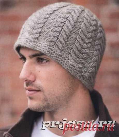 «Косы» шапка спицами для мужчин