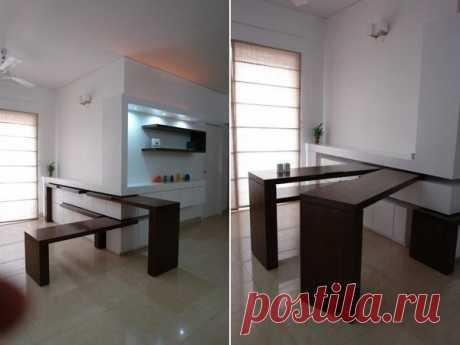 Необычный и удобный кухонный стол.